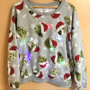Sweaters Ugly Santa Cat Light Up Christmas Sweatshirt 3xl Poshmark